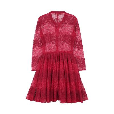 lace flare dress red